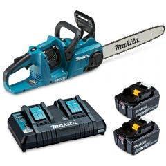 MAKITA 36V (18Vx2) Brushless 2 x 5.0Ah 400mm Easy Change Bar Chainsaw Kit DUC400PT2