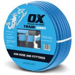 OX 30m 12mm Garden Hose Kit with Fittings and Adjustable Nozzle