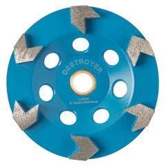 UNITEC 125mm 6-Segment Arrow Diamond Grinding Cup - DESTROYER