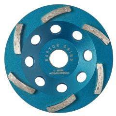 UNITEC 125mm 6-Segment Spiral Diamond Grinding Cup - RAPTOR U-5RG6