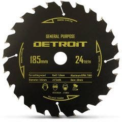 DETROIT 185mm 24T TCT Circular Saw Blade for Wood Cutting