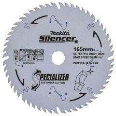 MAKITA 165mm 56T TCT Circular Saw Blade for Wood & Melamine Cutting - Plunge Saws - SPECIALIZED SILENCER