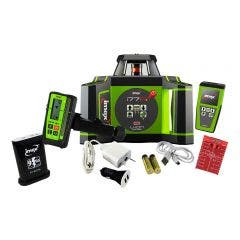 IMEX 600m Red Beam Rotary Laser Level with mm-Receiver + Tripod + Staff Kit 012I77RK