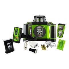 IMEX 600m Green Beam Rotary Laser Level with mm-Receiver + Tripod + Staff 012I88GK