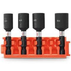 BOSCH 1/4-7/16inch x 50mm Magnetic Power Nutsetter Set - IMPACT TOUGH - 4 Piece