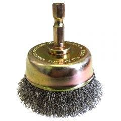 JOSCO 63mm 1/4 Hex Mounted Crimp Cup Wire Brush