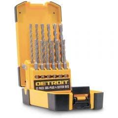 DETROIT 5-12mm 4-Cutter SDS-Plus TCT Hammer Drill Bit Set - 12 Piece