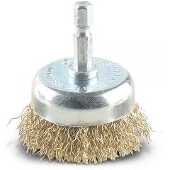 DETROIT 50mm 1/4-Hex Mounted Crimped Wire Cup Brush