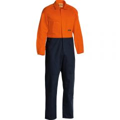 BISLEY 2 Tone Hi Vis Coveralls Regular Weight Orn/Nvy BC635777REGORNNVY