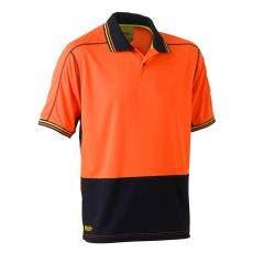 BISLEY Two Tone Hi Vis Mesh Short Sleeve Polo Shirt Org/Nvy BK1219SORGNVY