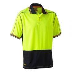 BISLEY Two Tone Hi Vis Mesh Short Sleeve Polo Shirt Yel/Nvy BK1219SYELNVY