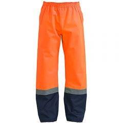 BISLEY Taped Two Tone Hi Vis Shell Rain Pant Orange/Navy BP6965TORGNVY