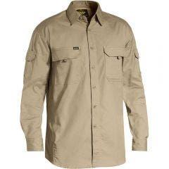 BISLEY X Airflow Ripstop Work Shirt Khaki BS6414SKHAKI