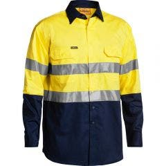 BISLEY 3M Taped Hi Vis Cool Long Sleeve Shirt Yel/Nvy BS6896SYELNVY