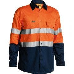 BISLEY 3M Taped Hi Vis Cool Long Sleeve Shirt Orn/Nvy BS6896SORNNVY