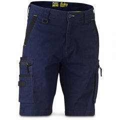 BISLEY Flex & Move Stretch Utility Zip Cargo Short Navy BSHC133077RNVY
