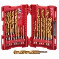MILWAUKEE 2-13mm Metric 1/4-Hex Quick-Change HSS-TiN Jobber Drill Bit Set - RED-HELIX - 25 Piece