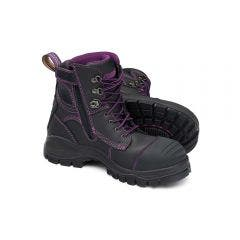 BLUNDSTONE Womens Zipside Black Safety Boots Size 5 897050