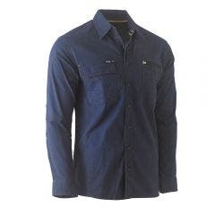 BISLEY Flex & Move Utility Long Sleeve Shirt Navy BS6144NVYS