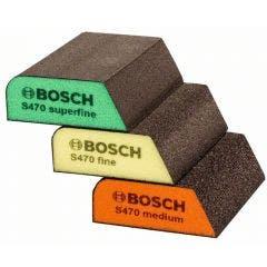 BOSCH Foam Angled Hand Sanding Block Kit - S470 BEST for PROFILE - 3 Piece