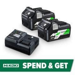 HiKOKI 18V/36V 2 x 5.0Ah/2.5Ah Battery Charger Starter Pack 36VSTARTERPACK2Z