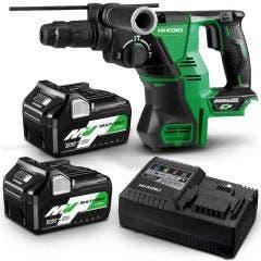 HiKOKI 36V 28mm 2 x 2.5Ah/5.0Ah Multi Volt SDS-Plus Rotary Hammer Kit DH36DPC(HRZ)