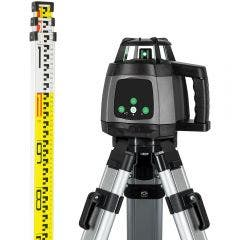 GENERAL Titanium Green Rotary Laser Level Package with Tripod, Staff & Remote 88180