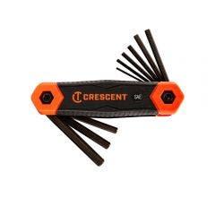 CRESCENT 9 Pc. Folding Sae Hex Dual Material Key Set CHKFSAE9