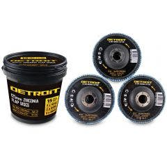DETROIT 125mm 40/60/80-Grit Zirconia Angled Flap Disc Bulk Pack - 15 Piece Tub