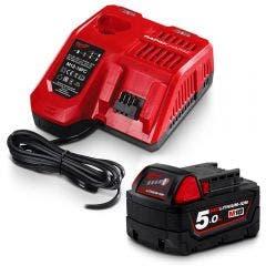 MILWAUKEE 18V 5.0Ah Battery Starter Pack Red Lithium-Ion M18SP-501B
