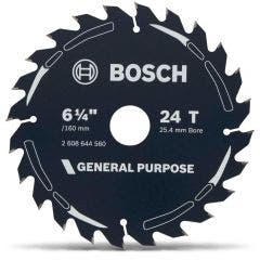 BOSCH 160mm 24T TCT Circular Saw Blade for Wood Cutting - GENERAL PURPOSE