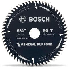 BOSCH 160mm 60T TCT Circular Saw Blade for Wood Cutting - GENERAL PURPOSE