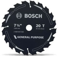 BOSCH 184mm 20T TCT Circular Saw Blade for Wood Cutting - GENERAL PURPOSE
