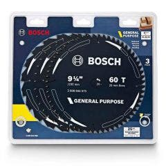 BOSCH 235mm 20T, 40T, & 60T TCT Circular Saw Blade Set for Wood Cutting - GENERAL PURPOSE - 3 Piece