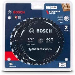 BOSCH 184mm 20T & 40T TCT Circular Saw Blade Set for Wood Cutting - CORDLESS  WOOD- 2 Piece