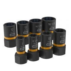 GEARWRENCH 1/4inch & 3/8inch Drive Bolt Biter Impact Extraction Socket Set 8pcs