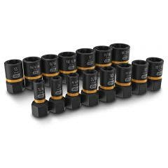 GEARWRENCH 1/4inch & 3/8inch Drive Bolt Biter Impact Extraction Socket Set 15pcs