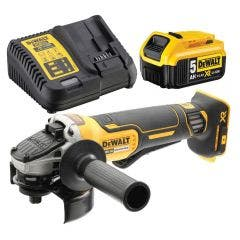 DEWALT 18V Brushless 1 x 5.0Ah 125mm Angle Grinder Kit DCG406P1XE