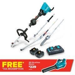 MAKITA 36V 2 x 5.0Ah Brushless Multi-Function Powerhead, Pole Saw & Hedge Trimmer Kit DUX60PSHPT2