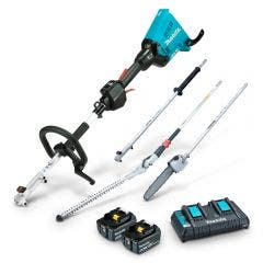 MAKITA 36V 2 x 5.0Ah Brushless Multi-Function Powerhead, Pole Saw & Hedge Trimmer Kit DUX60PSHPT2
