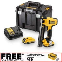 DEWALT 18V Brushless 2 x 2.0Ah Electrician Stapler Kit DCN701D2XE