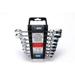 TTI 8 Piece Flex Head Ratchet R/OE 72 Tooth Metric Spanner Set TFHSM8