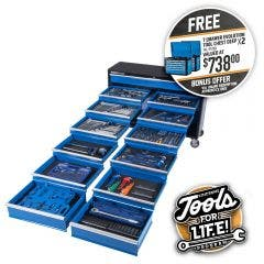 KINCROME Evolution Tool Trolley 494 Piece 13 Drawer Extra Wide w. Trolley P1730