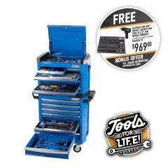 KINCROME Contour Tool Chest Kit 242 Piece 15 Drawer w. Trolley - Blue P1805