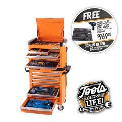 KINCROME Contour Tool Chest Kit 242 Piece 15 Drawer w. Trolley - Orange P1805O