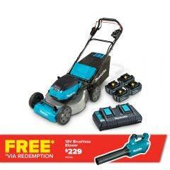 MAKITA 36V (2x18V) 534mm 4 x 5.0Ah Lawn Mower Kit DLM532PT4X