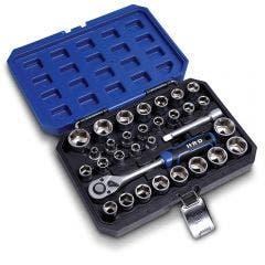 HRD 31 Piece 1/2 Inch Drive AF/Metric Socket Set H12VS31