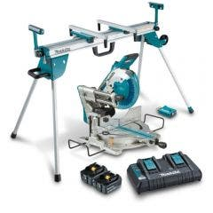 MAKITA 18Vx2 Brushless 2 x 5.0Ah Slide Compound Saw w. Mitre Saw Stand DLS111PT2UWST06