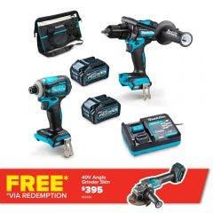 MAKITA 40V Max XGT Brushless 2 Piece 2 x 4.0Ah Combo Kit DK0114G201