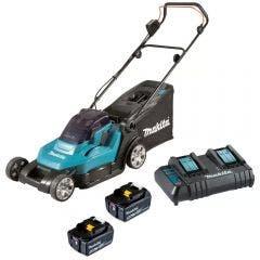 MAKITA 18v x 2 430mm 2 x 5.0Ah Lawn Mower Kit DLM432CT2